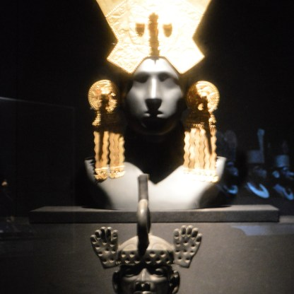 Chimu gold head dress on display at Museo Larco in Lima, Peru