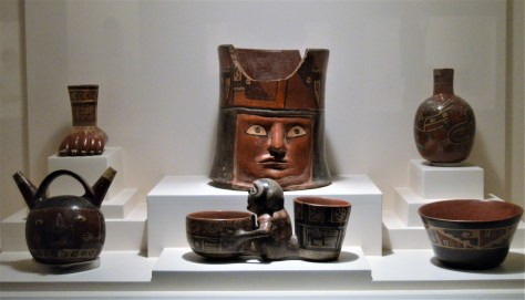 Pottery from the Wari culture on display at Museo Larco