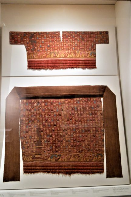 Funerary clothes from the Labrayenque culture on display at Museo Larco in Lima, Peru