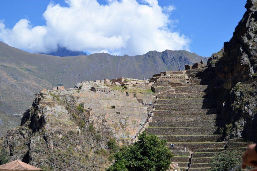 Giant steps and Inca fortress at Ollantaytambo near Cusco, Peru