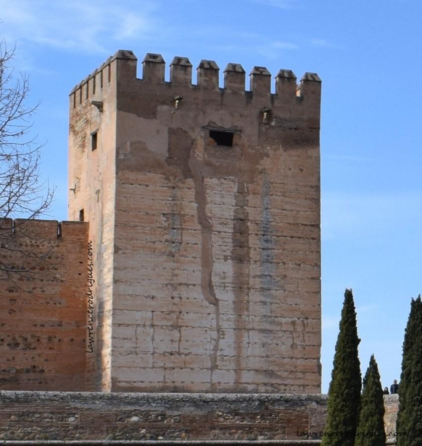 Torre del Homenaje located on the northeast corner of Alcazaba at Aljambra in Granada, Spain