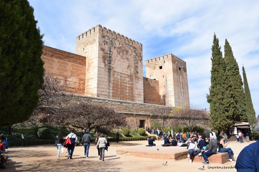 Alcazaba Entrance and Plaza de Los Aljibes located at Alhambra in Granada, Spain
