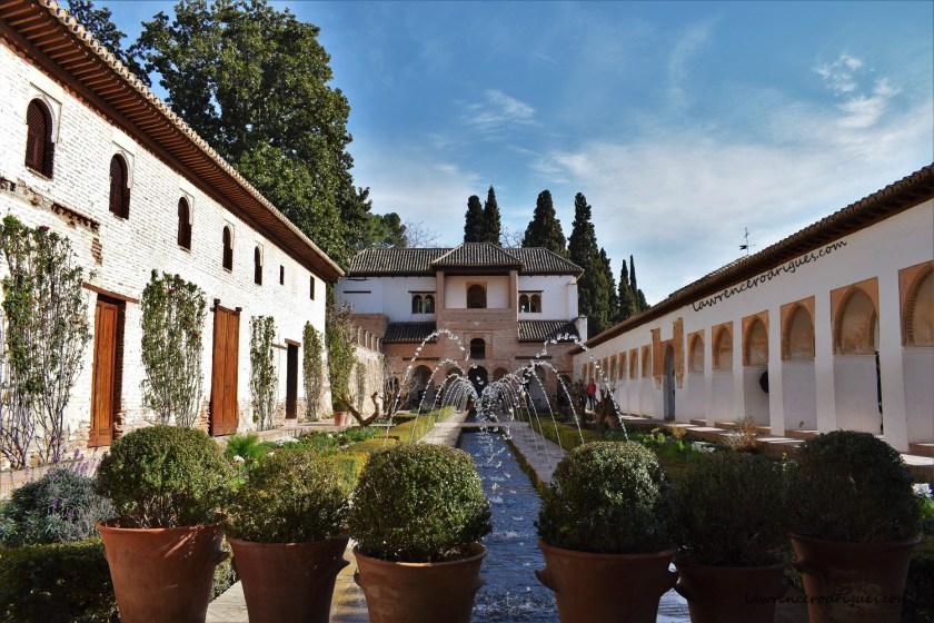 Patio de la Acequia (Court of the Irrigation Canal), a part of the Generalife Palace in Granada, Spain