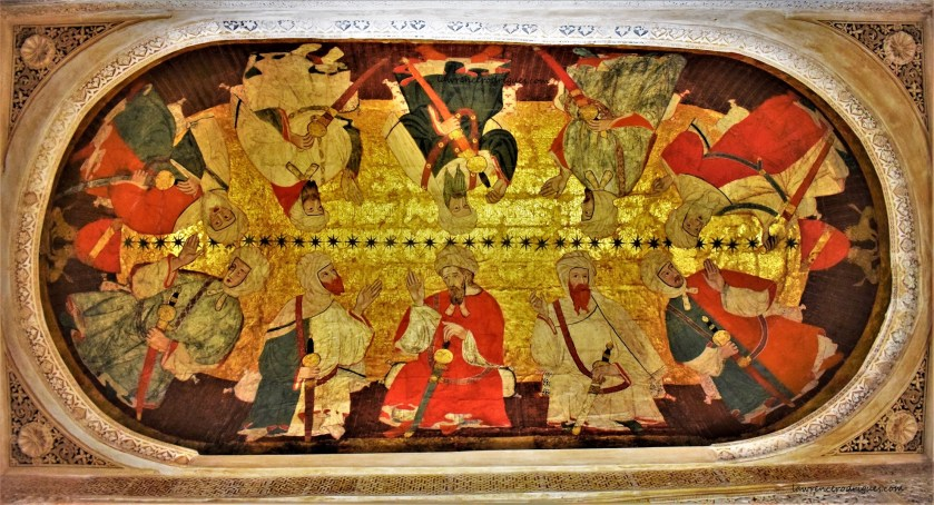 Ten Nasrid Kings - A painting on the ceiling of the Hall of the Kings located in the Nasrid Palaces in Alhambra, Granada, Spain