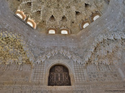 Part of the ceiling and wall of the Hall of the Two Sisters located inside Nazrid Palaces in Alhambra, Granada, Spain