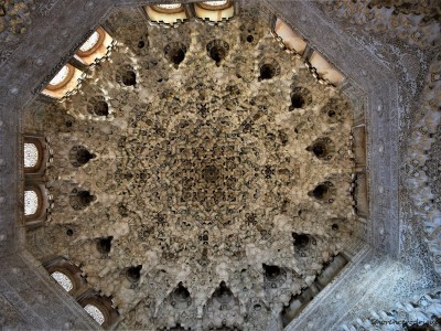 A view of the ceiling of Hall of Two Sisters located inside Nazrid Palaces in Alhambra, Granada, Spain