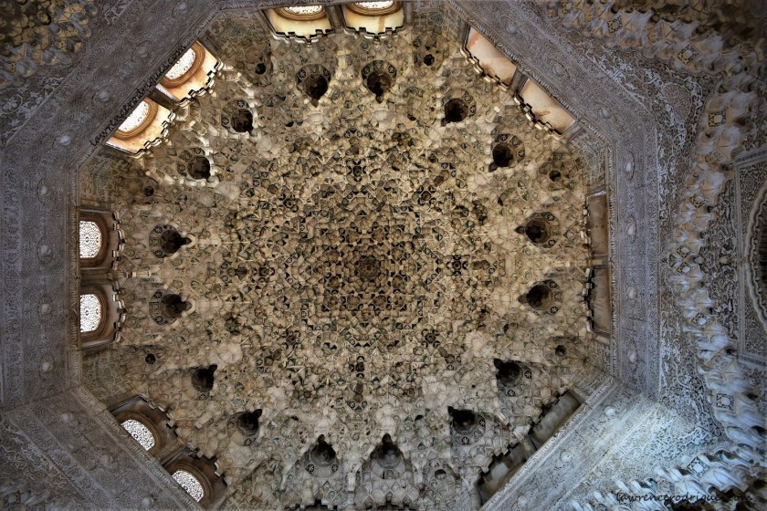 A view of the ceiling of Hall of Two Sisters located inside Nasrid Palaces in Alhambra, Granada, Spain
