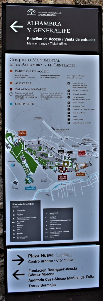 A site map of the Alhambra located near the city of Granada in Spain
