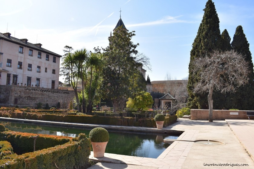 A west side view of the Gardens of the Partal in Granada, Spain