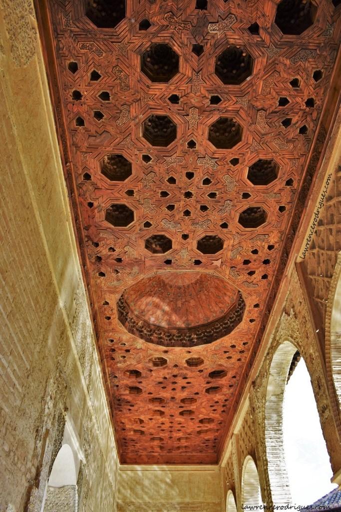 The ceilingof the portico of the Torre de las Damas located in the Partal Gradens, Alhambra, Granada, Spain