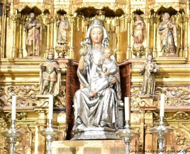 Statue of Virgen de la Sede (Virgin of the See) in the Retablo Mayor at the Capilla Mayor of the Seville Cathedral