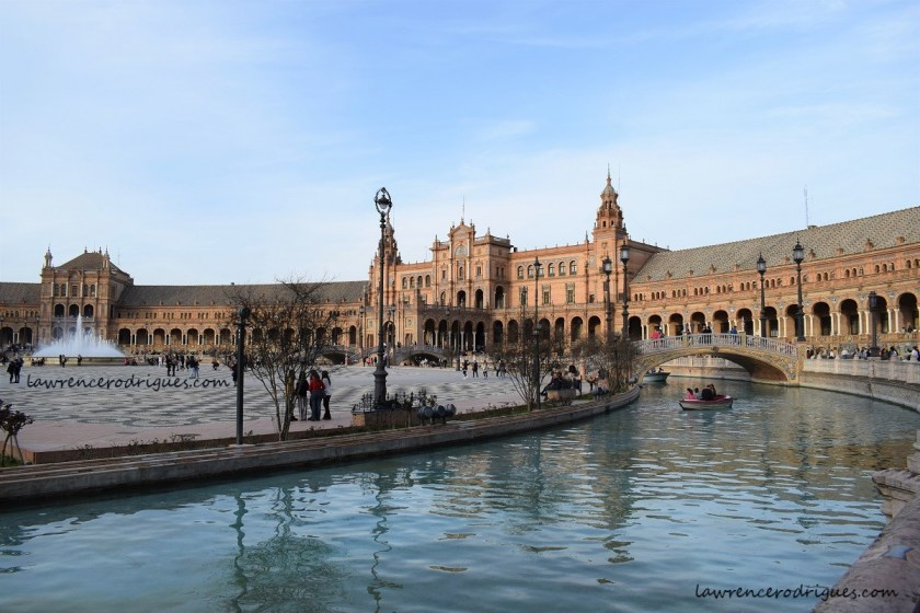 Middle section and the canal of the Plaza de España in Seville, Spain