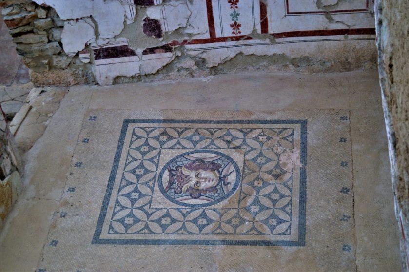 Mosaic on the floor of a Roman Terrace House in Ephesus, Turkey