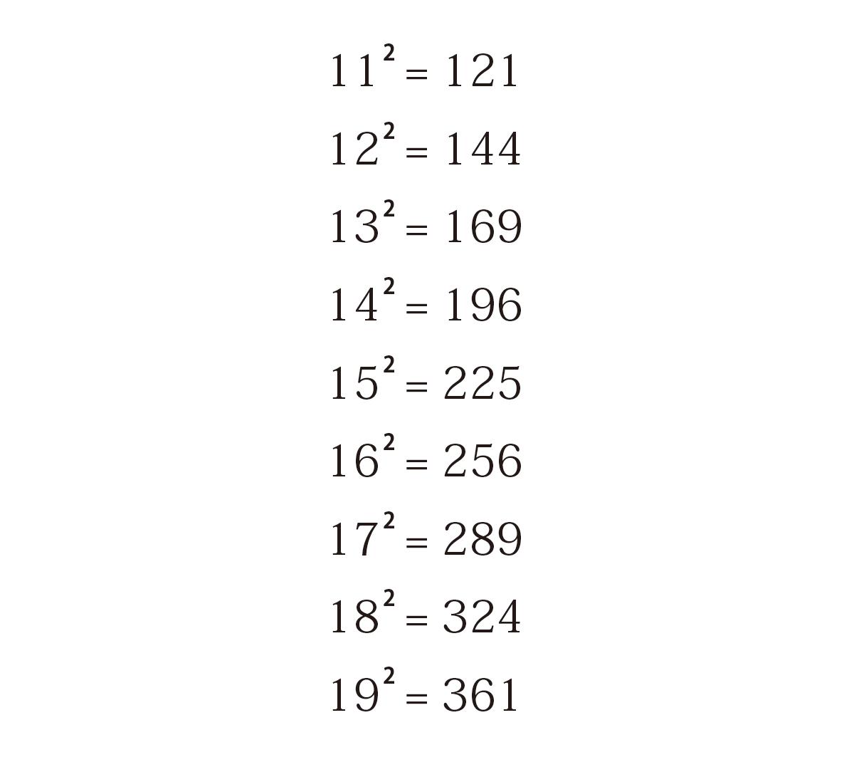 絶対に暗記した方がいい2乗計算