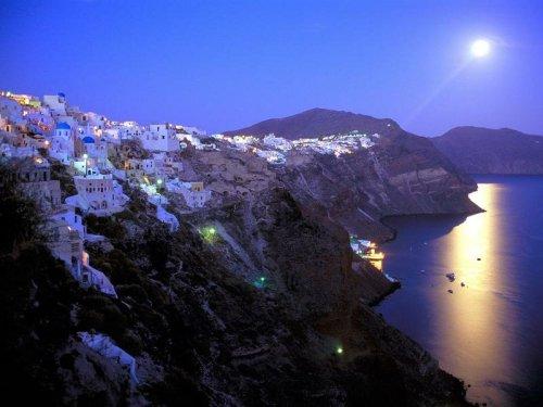 Санторини ночью, Греция