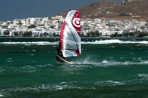 Виндсерфинг на острове Наксос, Греция