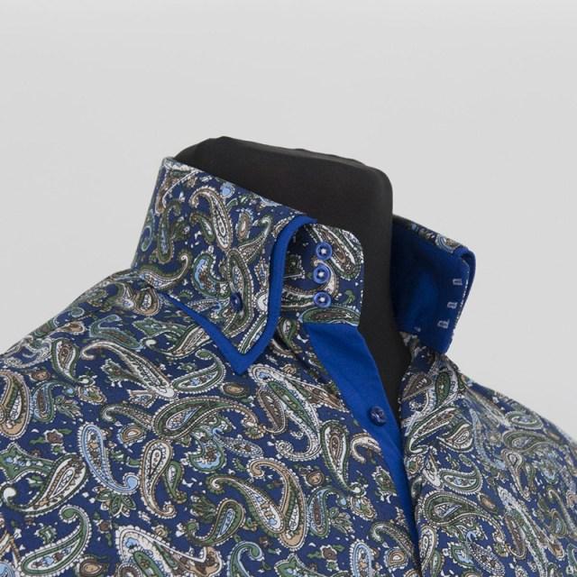 Цветная рубашка с двойным воротником – фото новинка сезона