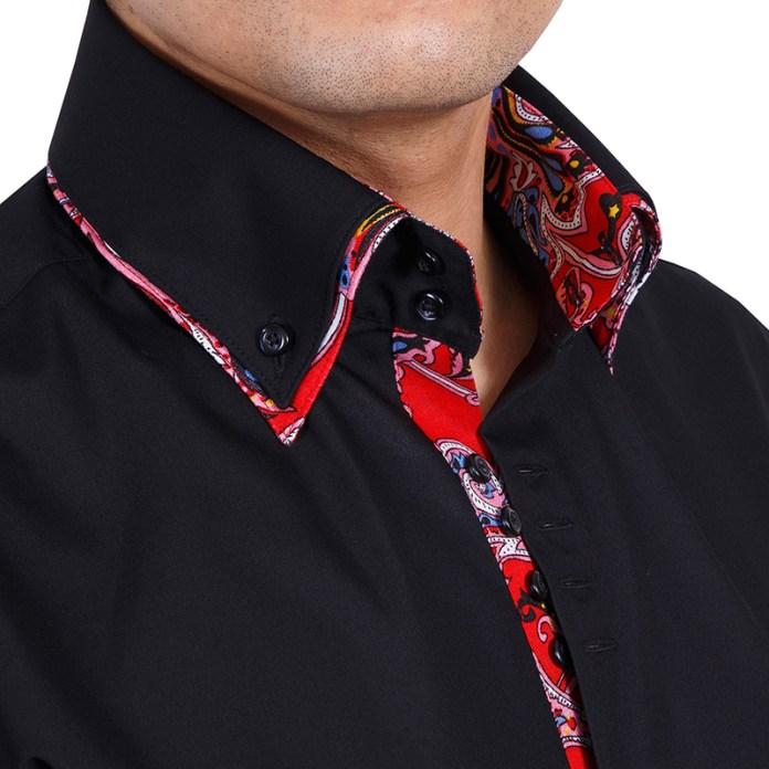 Черная мужская рубашка с двойным воротником – фото новинка сезона