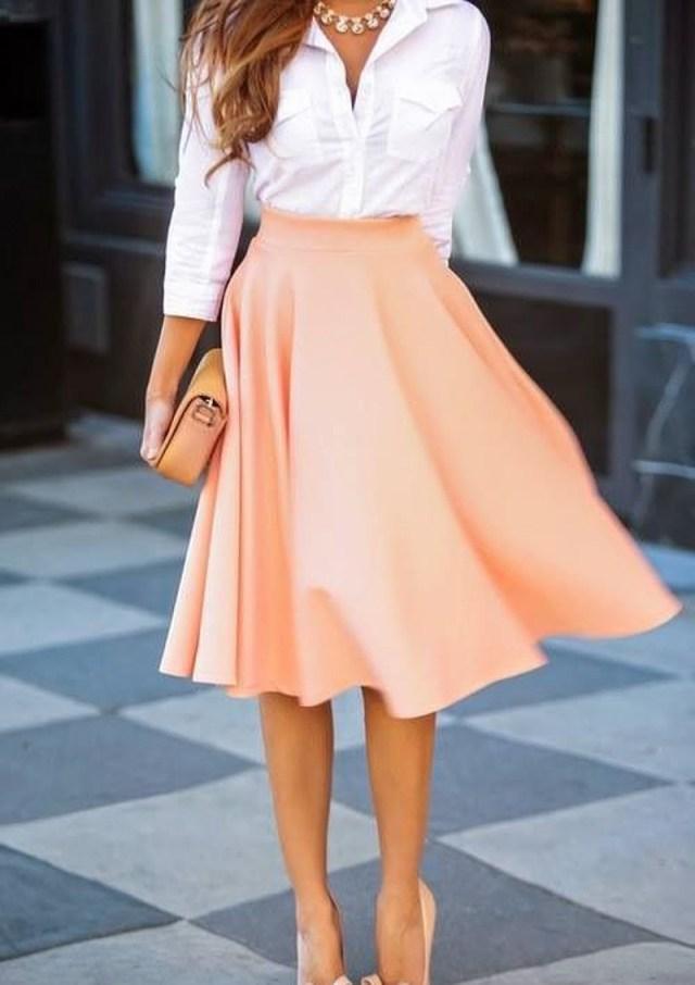 Фото новинка: юбка полусолнце в деловом стиле
