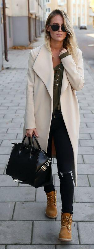 Сочетание пальто с тимберлендами, с чем еще модно носить тимберленды