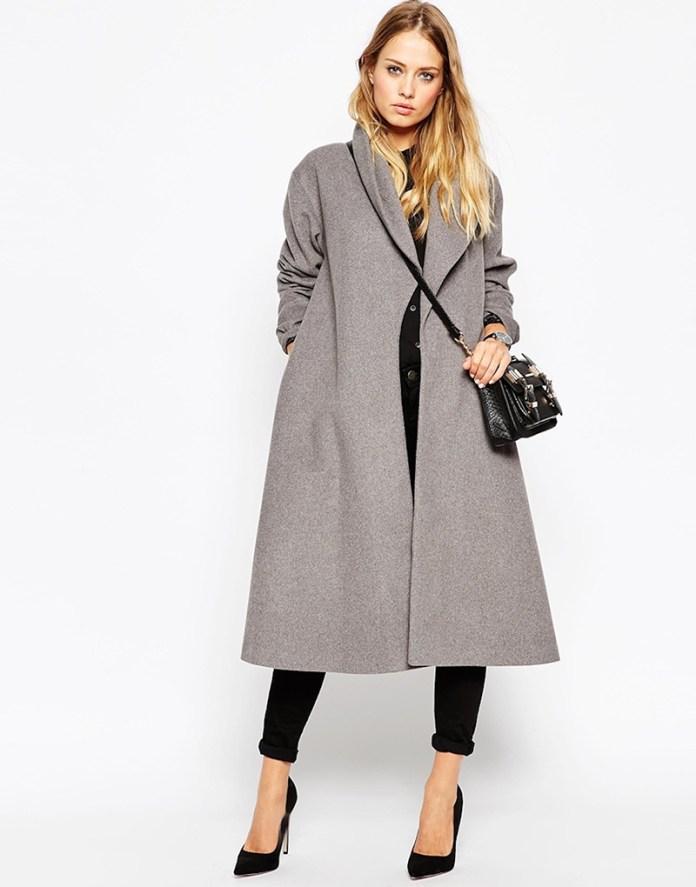 Серое женское пальто трапеция – фото новинки сезона