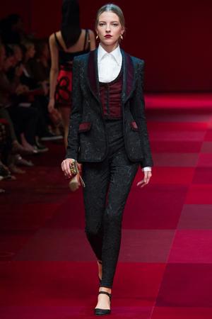 Длинный модный пиджак с брюками весна лето 2015 фото Dolce & Gabbana