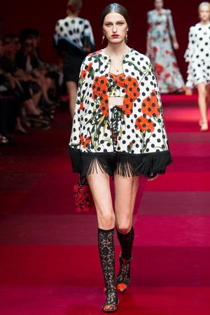 Сразу 2 принта – горошек и цветочный принт в коллекции Dolce & Gabbana весна лето 2015