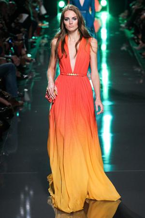 Длинное роскошное оранжевое платье – Elie Saab 2015