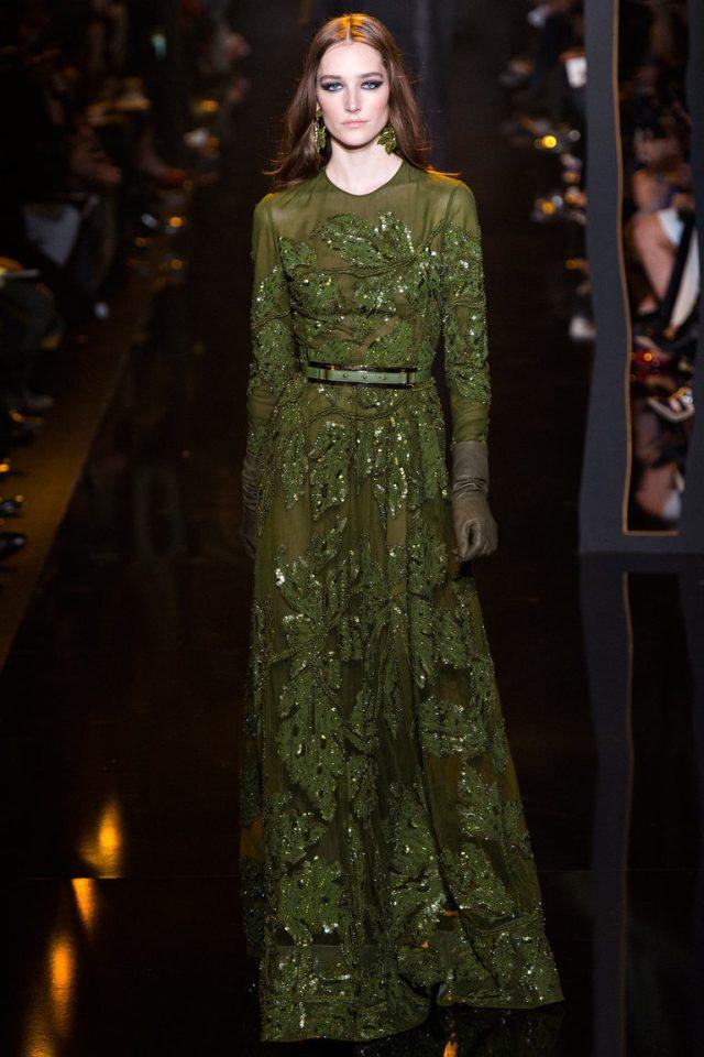 Длинное платье модного зеленого цвета хаки 2016 – фото новинки от Elie Saab