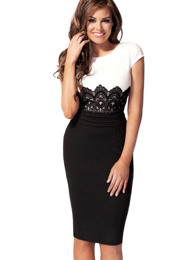 Черно-белое платье в деловом стиле – фото новинки сезона