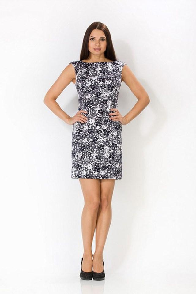 Черно-белое платье с цветочным узором – фото новинки сезона