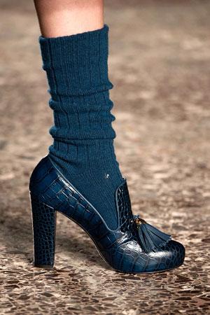 Синие модные туфли с носками осень-зима 2015-2016 фото Stella Jean