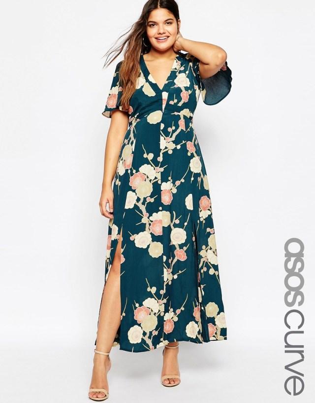 Мода 2016 для полных женщин: длинное платье с цветочным принтом больших размеров ASOS CURVE WEDDING Maxi Dress In Blossom Floral Print, цена 7 647,04 руб.