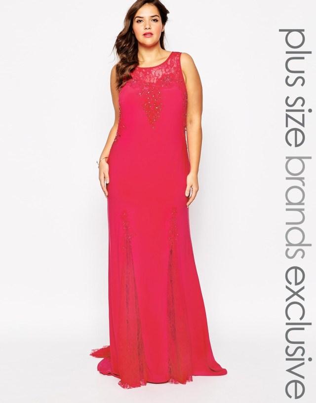 Красное длинное вечернее платье 2016 для полных женщин - Forever Unique Plus, цена 35 294,01 руб.