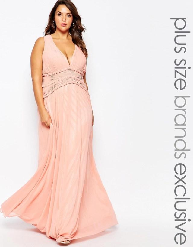 Нежно-розовое вечернее платье для полных женщин - Forever Unique Plus, цена 32 352,84 руб.