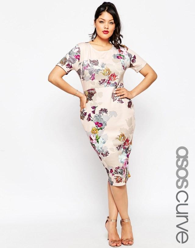 Платье 2016 для полных женщин с цветочным принтом - ASOS CURVE, цена 5 294,10 руб.