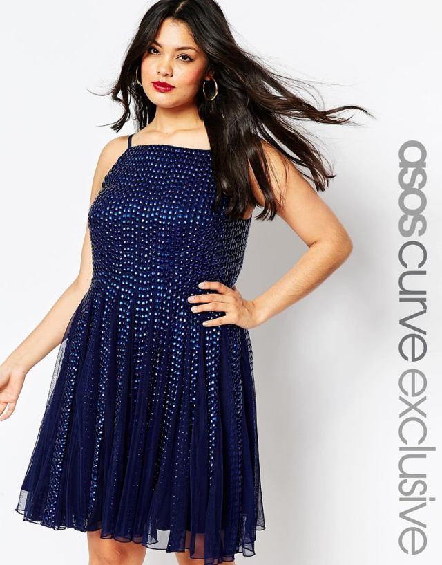 Синее модное платье 2016 больших размеров - ASOS CURVE After Party, цена 9 999,97 руб
