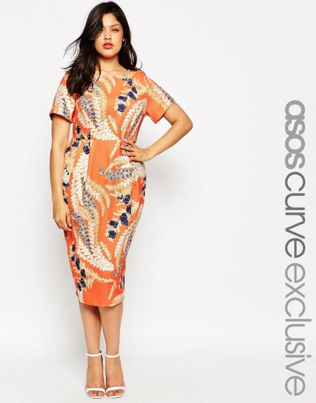 Оранжевое платье 2016 для полных женщин - ASOS CURVE, цена 5 647,04 руб.