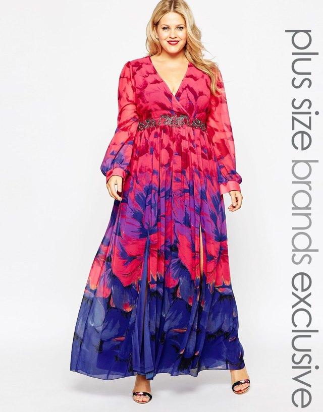 Длинное платье 2016 для полных женщин с цветочным узором - Little Mistress Plus, цена 8 823,50 руб.