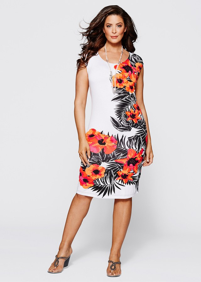 Платье больших размеров с цветочным принтом