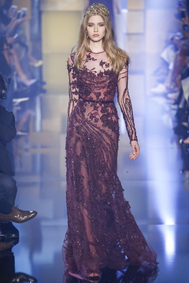 Бордовое длинное праздничное платье на Новый год 2016 – фото новинка от Elie Saab