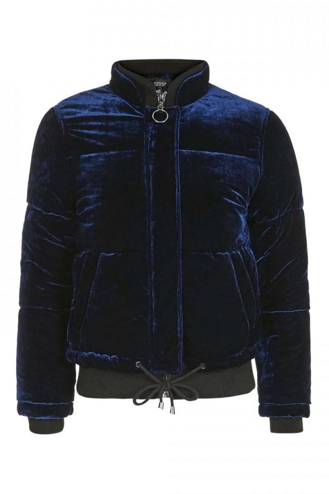 Модная зимняя куртка из бархата