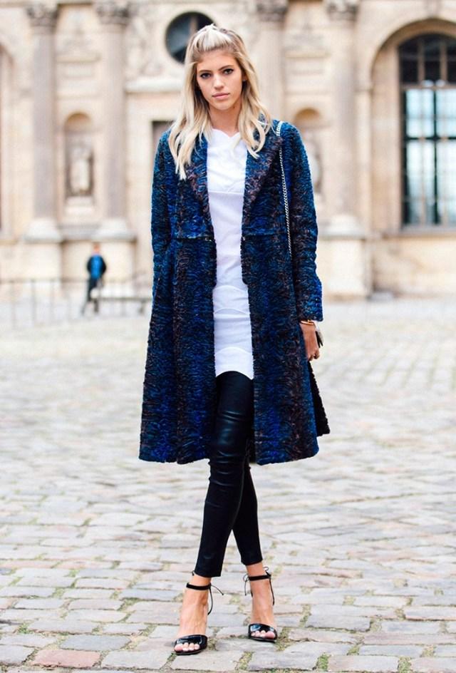 Длинный синий модный кардиган - фото новинки