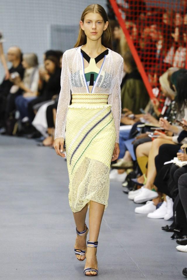 Прямая желтая кружевная модель юбки 2016 – фото новинка в коллекции Peter Pilotto