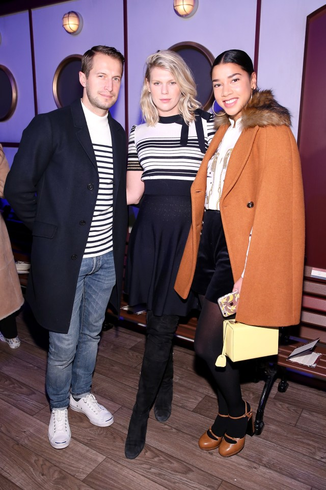 NEW YORK, NY - FEBRUARY 15: (L-R) Brendan Fallis, Alexandra Richards, and Hannah Bronfman attend the Tommy Hilfiger Women's Fall 2016 show during New York Fashion Week: The Shows at Park Avenue Armory on February 15, 2016 in New York City. (Photo by Neilson Barnard/Getty Images for Tommy Hilfiger)