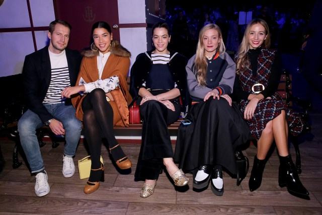 NEW YORK, NY - FEBRUARY 15: (L-R) Brendan Fallis, Hannah Bronfman, Chelsea Leyland, Kate Foley, and Harley Viera-Newton attend the Tommy Hilfiger Women's Fall 2016 show during New York Fashion Week: The Shows at Park Avenue Armory on February 15, 2016 in New York City. (Photo by Neilson Barnard/Getty Images for Tommy Hilfiger)