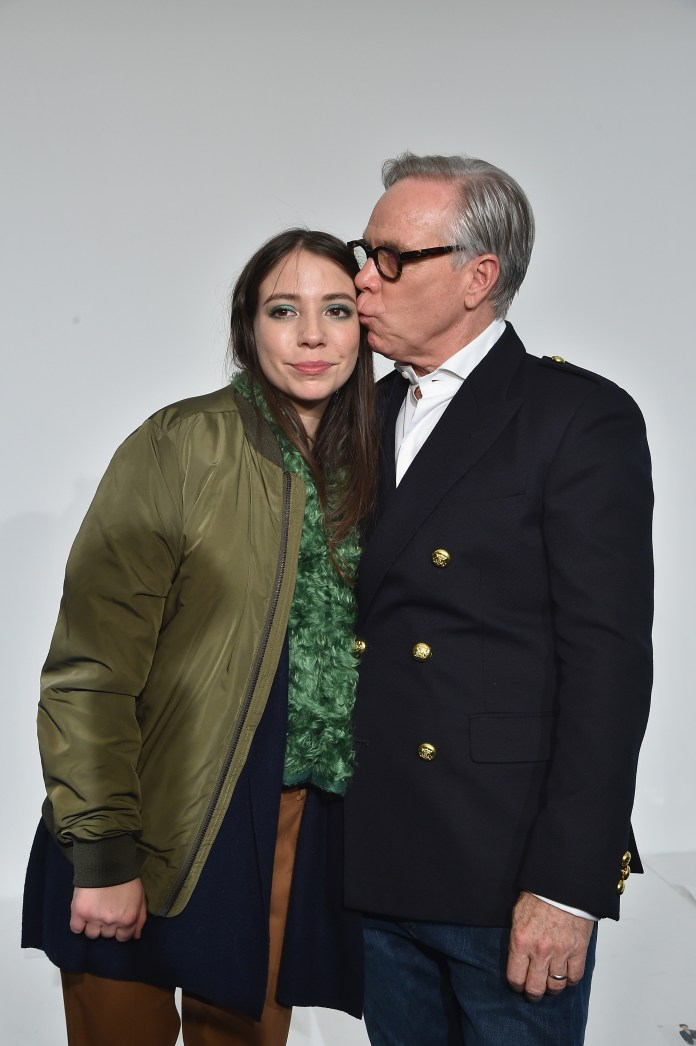 NEW YORK, NY - FEBRUARY 15: Elizabeth Hilfiger (R) and Tommy Hilfiger pose backstage at the Tommy Hilfiger Women's Fall 2016 show during New York Fashion Week: The Shows at Park Avenue Armory on February 15, 2016 in New York City. (Photo by Mike Coppola/Getty Images for Tommy Hilfiger)