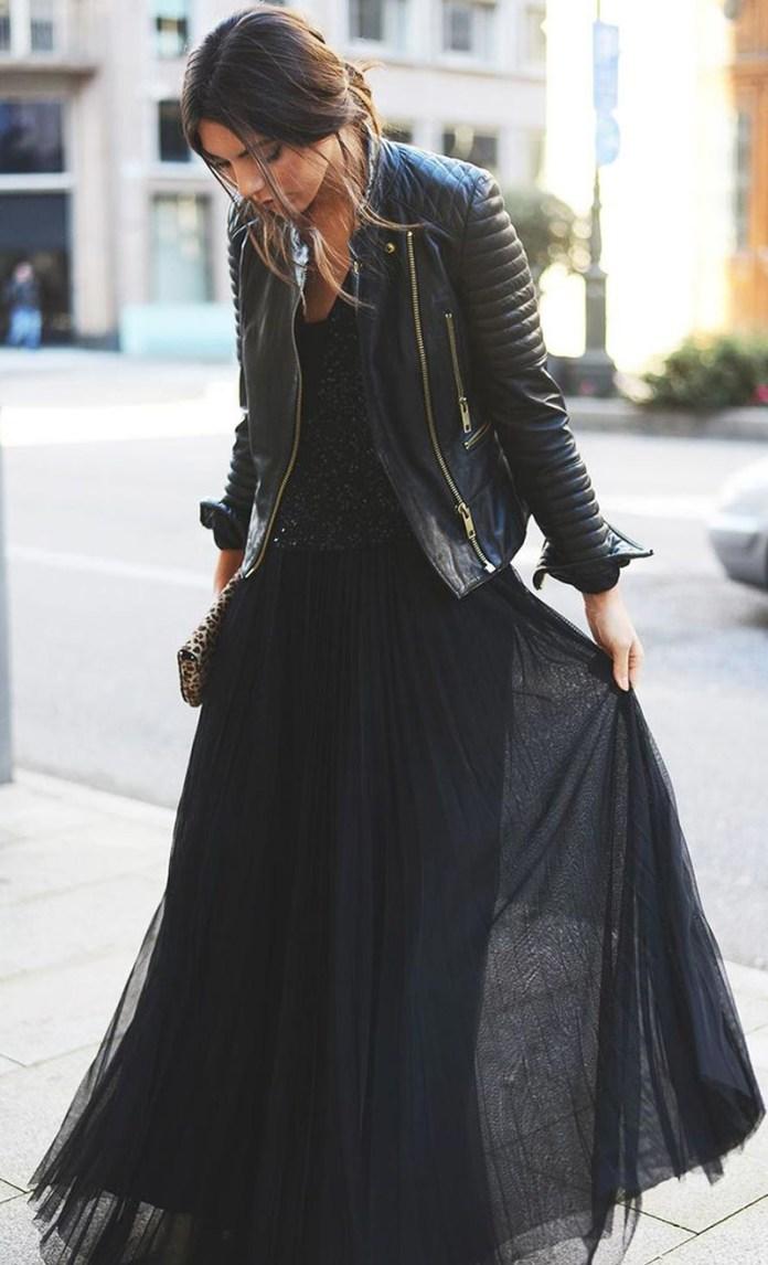 Сочетание куртки косухи с длинной юбкой – фото новинки и тренды сезона