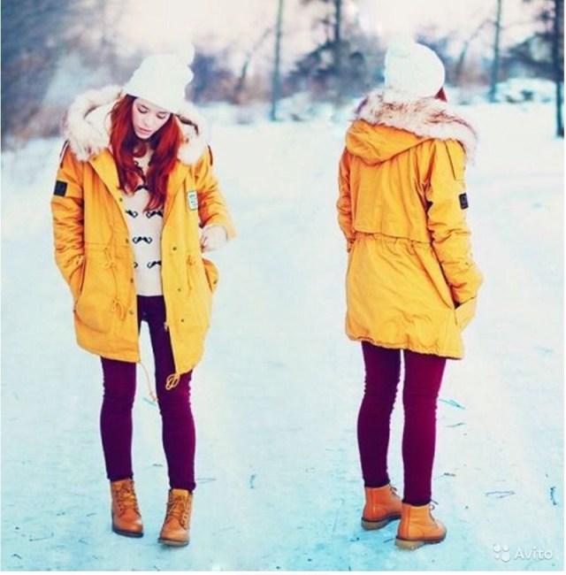 Желтая модная куртка парка – фото новинки сезона