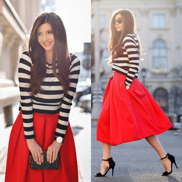 Сочетание красного цвета с белым и черным цветов - фото новинки и тренды сезона